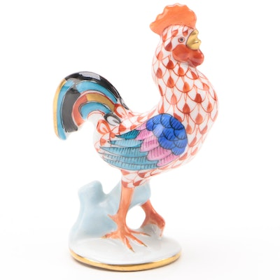 "Herend Rust Fishnet with Gold ""Rooster"" Porcelain Figurine"