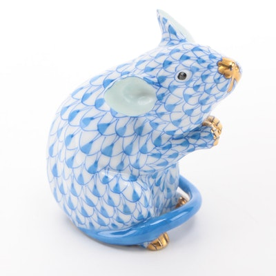 "Herend Blue Fishnet with Gold ""Mouse"" Porcelain Figurine"