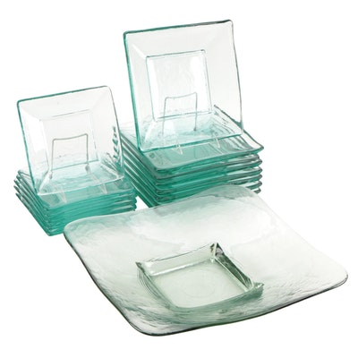 Recycled Green Glass Square Plates and Serving Bowl
