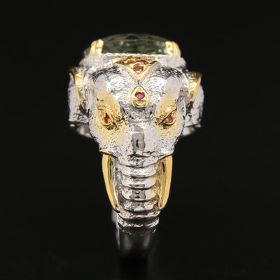 Sterling Lime Citrine Elephant Head Ring with Garnet and Ruby Accents
