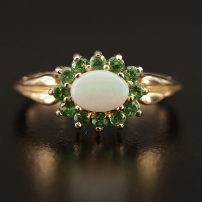 14K Oval Opal Cabochon with Diopside Halo