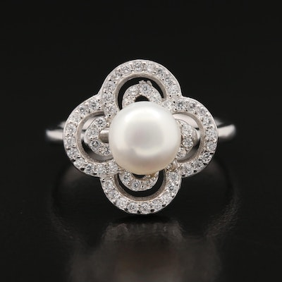 Sterling Silver Pearl and Cubic Zirconia Quatrefoil Ring