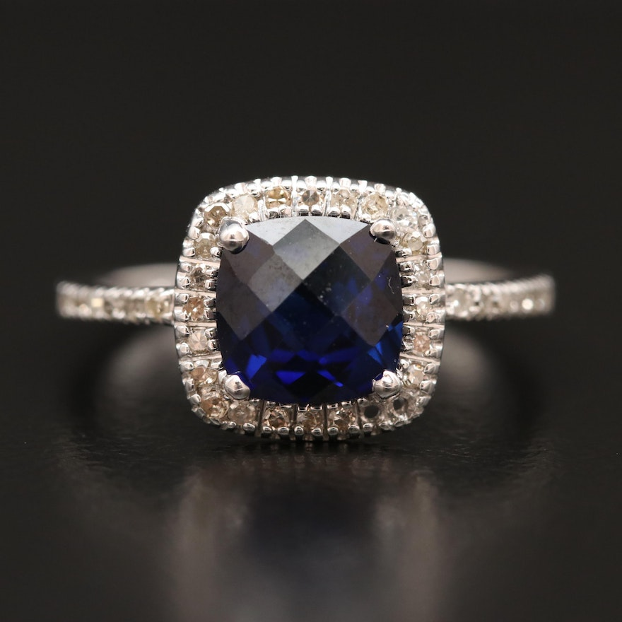 10K Sapphire and Diamond Ring with Halo