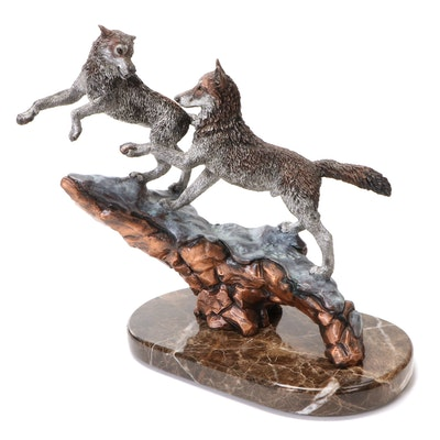 """Kitty Cantrell for Legends Cast Metal Sculpture """"Courtship"""", 1993"""