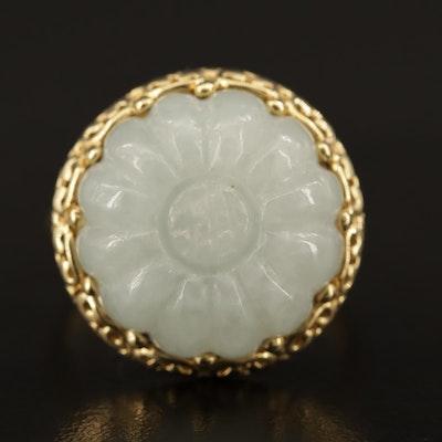 14K Carved Jadeite Flower Ring