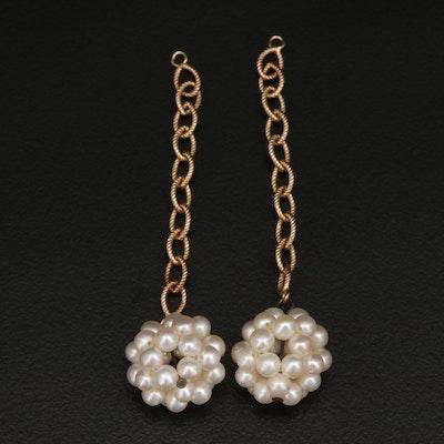 14K and Sterling Pearl Dangle Earring Enhancers