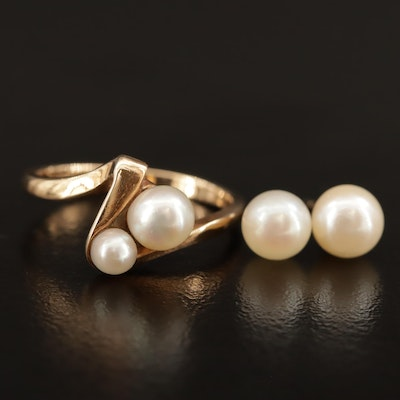 10K Pearl Bypass Ring and 14K Pearl Stud Earrings