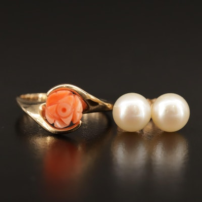 14K Carved Coral Rose Ring and Pearl Stud Earrings