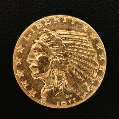 1911 Indian Head $5 Gold Half Eagle Coin