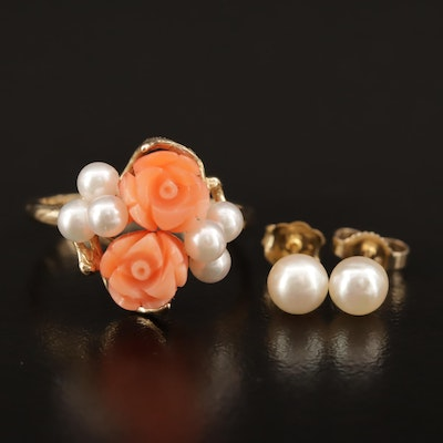 14K Carved Coral Rose and Pearl Ring with Pearl Stud Earrings