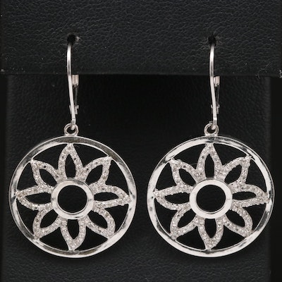 Sterling Silver Diamond Floral Dangle Earrings