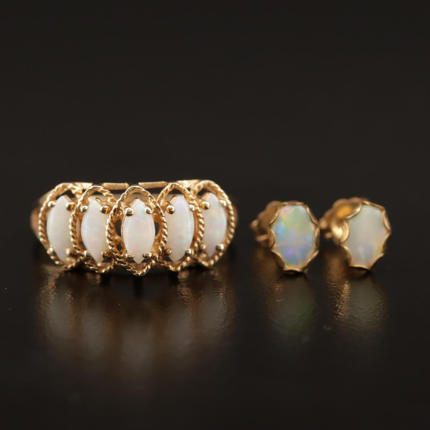 10K Opal Cathedral Ring and 14K Opal Stud Earrings