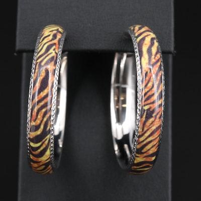 Sterling Silver Enamel Animal Print Hoop Earrings
