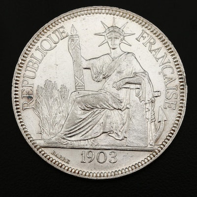 1903-A French Indo-China 1-Piastre Silver Coin
