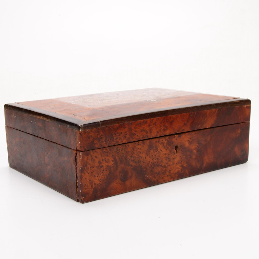 Burl Wood Vanity Keepsake Box with Mother of Pearl Inlay