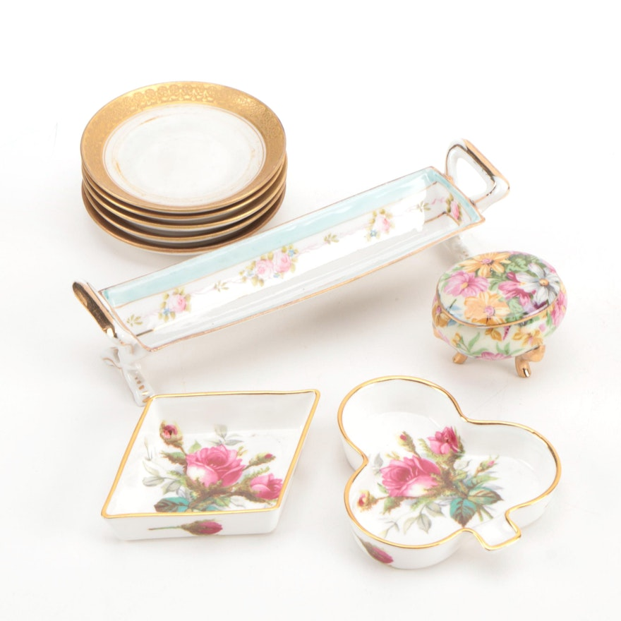 Nippon Porcelain Cracker Tray and Other Table Accessories, Mid 20th Century