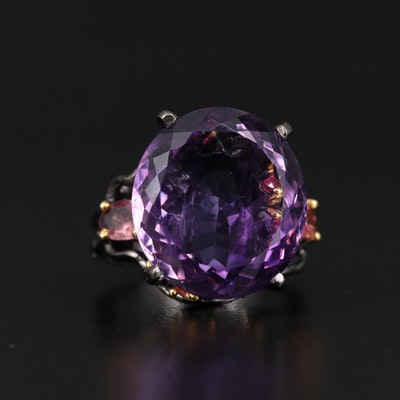 Sterling Silver Amethyst, Tourmaline and Rhodolite Ring
