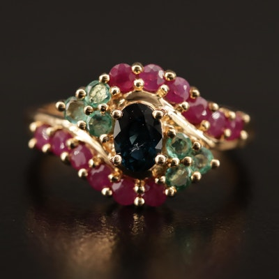 14K Sapphire, Ruby and Emerald Bypass Ring