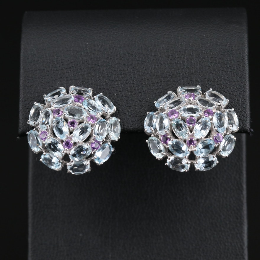Sterling Silver Aquamarine and Amethyst Cluster Earrings
