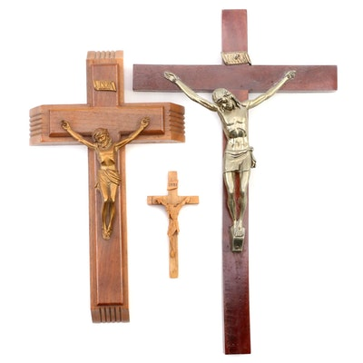 Italian and Portuguese Wood and Cast Metal Crucifix Wall Hangings