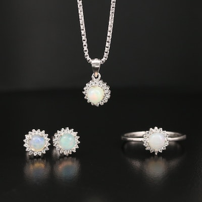 Sterling Opal and White Topaz Jewelry Set