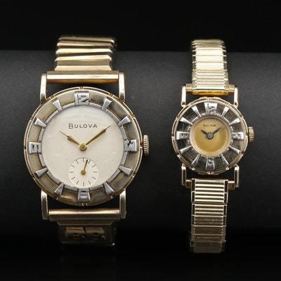 Pair of 1950's Bulova Decorative Bezel Gold Plate Wristwatches