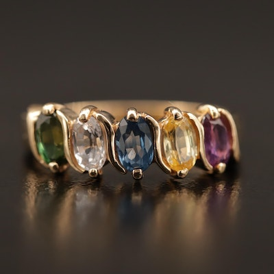 14K Multi-Colored Sapphire Ring