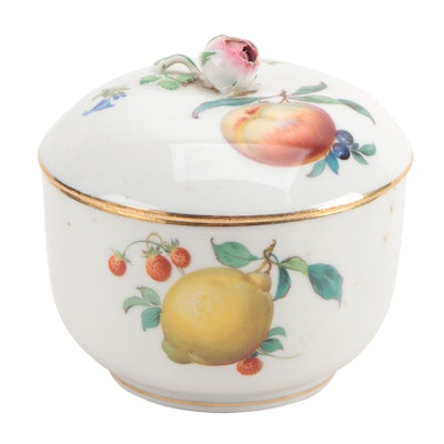 Meissen Porcelain Lidded Bowl with Rose Finial, Early to Mid 20th Century