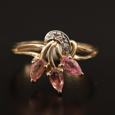 10K Pink Tourmaline and Diamond Floral Spray Ring
