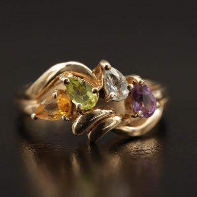 10K Multi-Gemstone Ring Featuring Citrine, Aquamarine, Peridot and Amethyst