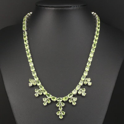 Sterling Silver Peridot Link Necklace