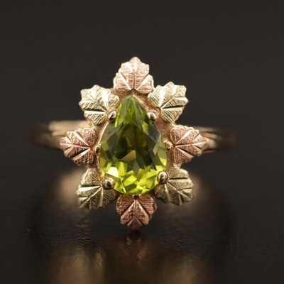 Coleman Company 10K Tri-Color Peridot Ring with Foliate Motif