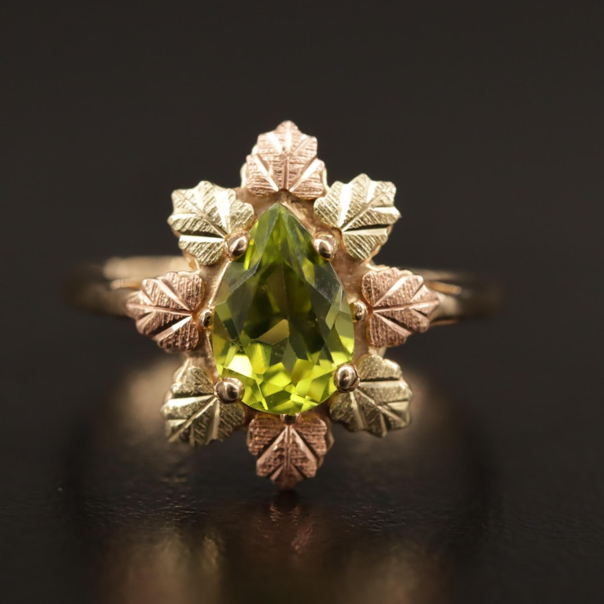 Coleman Company 10K Tri-Color Peridot Ring with Foliate Motif