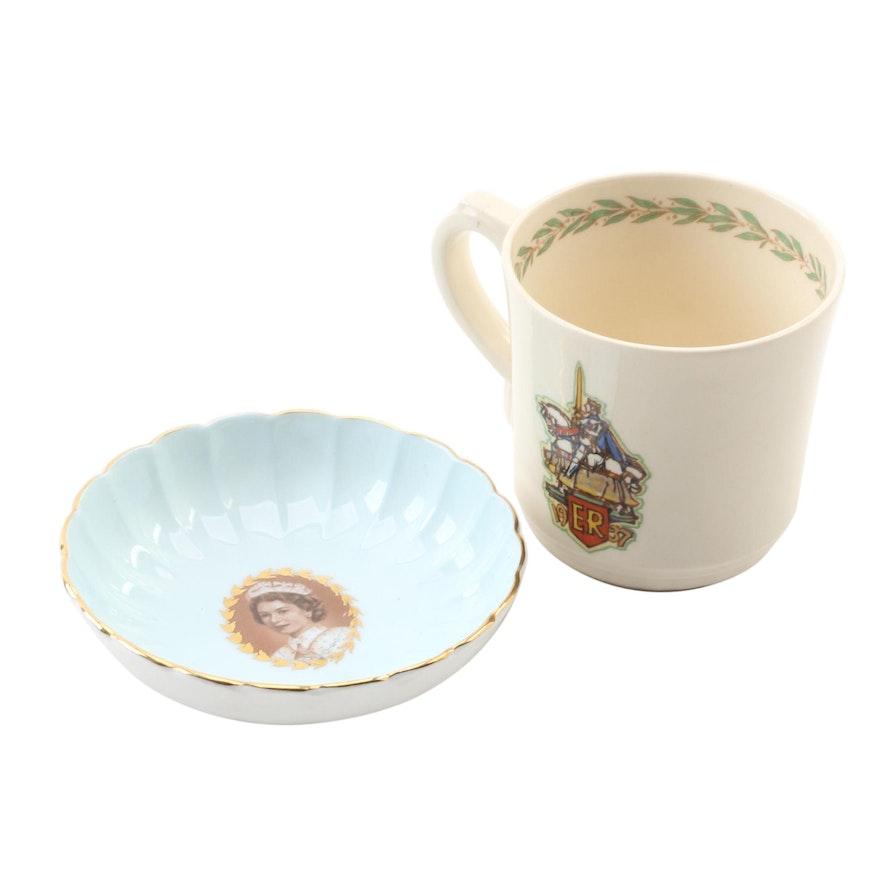 "Aynsley ""Elizabeth II"" Bone China Dish and Royal Doulton ""Edward VIII"" Teacup"
