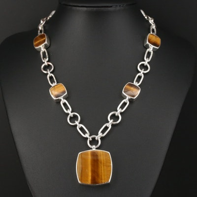 Sterling Silver Tiger's Eye Station Necklace