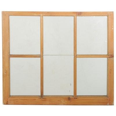 Wall Mirror in Vintage Repurposed Pine Wood Window Frame