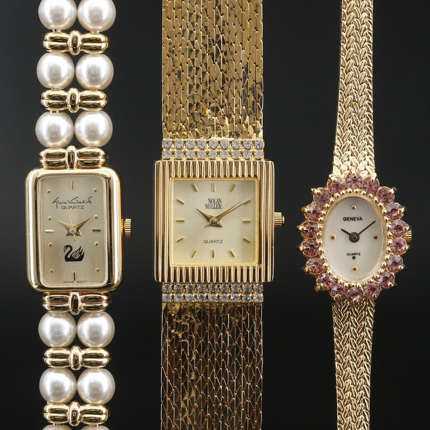 Collection of Gold Tone Crystal and Rhinestone Fashion Watches