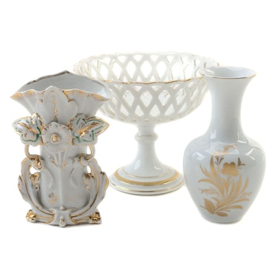Hutschenreuther Porcelain Vase with Limoges Porcelain Basket and Vase
