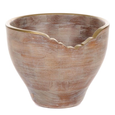 Italian Turned Wood Planter with Gold Tone Rim