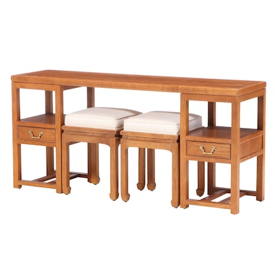 "Century Furniture ""Sobota Collection"" Chinese Style Oak Console Table and Stools"