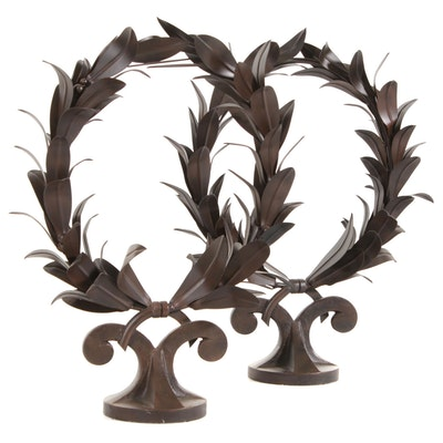 Global Views Welded Metal Laurel Wreath Decorative Figures, 21st Century