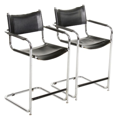 Pair of Mart Stam Style Italian Chrome and Black Leather Barstools, 20th Century