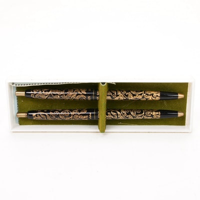 "Arpege ""My Sin"" 14k Gold Filigree Ballpoint Pen Set"