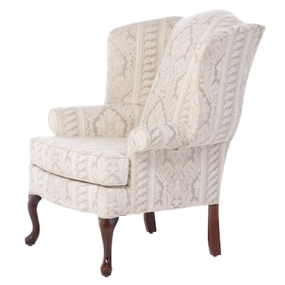 Crystal Furniture Queen Anne Style Upholstered Wingback Armchair