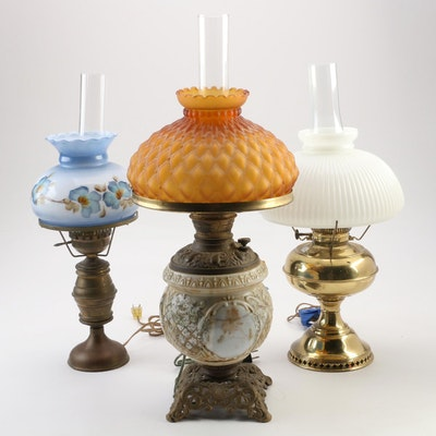 Rayon Victorian and Other Converted Kerosene Lamps, Early 20th Century