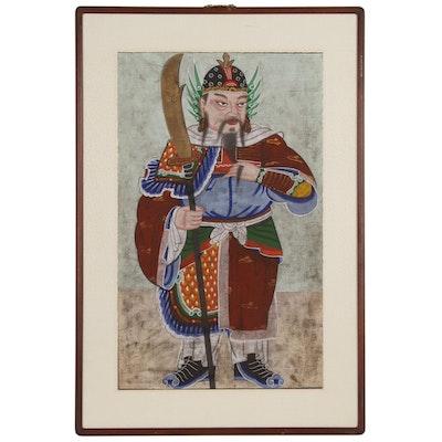 Korean Gouache Painting of Warrior