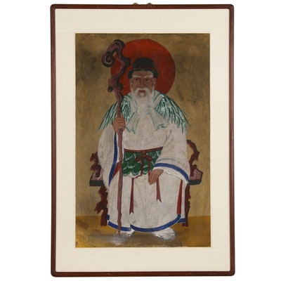 East Asian Gouache Painting of Wise Man