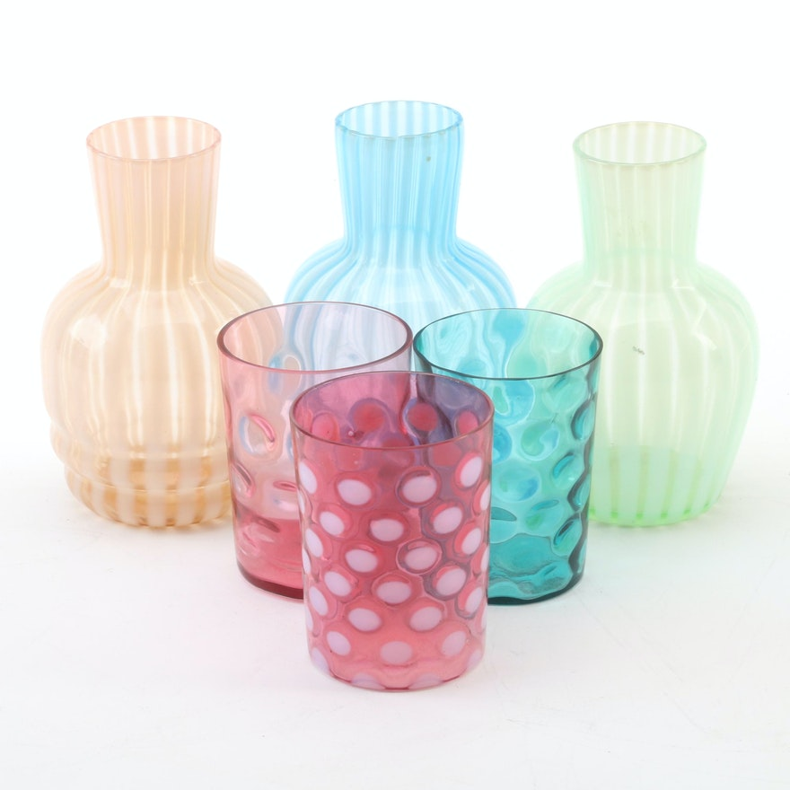 """Cranberry Opalescent """"Coin Dot"""" Tumbler with Other Glass Vases and Tumblers"""
