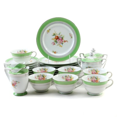 Noritake Green and Silver Trim Porcelain Tableware with Floral Motif