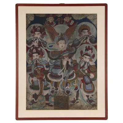 Korean Gouache Painting of Warriors, Late 19th to Early 20th Century